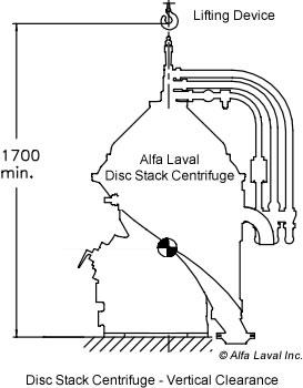 Alfa Laval Centrifuge - Vertical Clearance