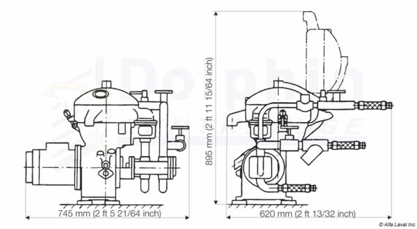 Alfa Laval MAB 103 Dimensions
